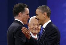 Moderator Bob Schieffer, center, watches as Republican presidential candidate, former Massachusetts Gov. Mitt Romney and President Barack Obama shake hands before the start of the last debate at Lynn University, Monday, Oct. 22, 2012, in Boca Raton, Fla. (AP Photo/Pablo Martinez Monsivais)