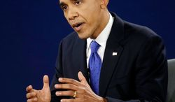 President Barack Obama answers a question during the third presidential debate at Lynn University, Monday, Oct. 22, 2012, in Boca Raton, Fla. (AP Photo/Charlie Neibergall)
