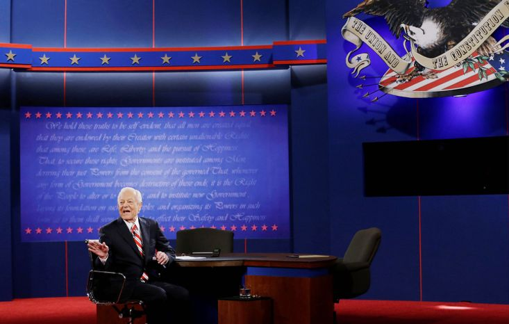 Moderator Bob Schieffer addresses the audience before the third presidential debate between President Barack Obama and Republican presidential nominee Mitt Romney. (AP Photo/Eric Gay)