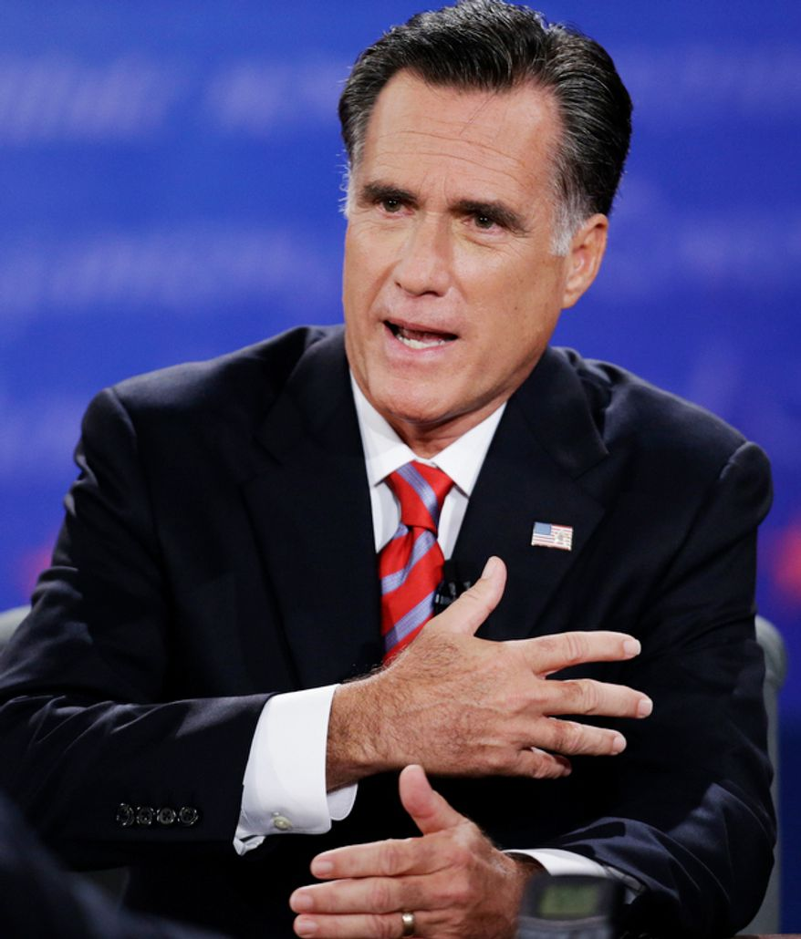 Republican presidential nominee Mitt Romney answers a question during the third presidential debate with President Barack Obama at Lynn University. (AP Photo/Eric Gay)