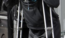 Jacksonville Jaguars running back Maurice Jones-Drew stands with crutches on the sideline during the third quarter of an NFL football game against the Oakland Raiders, Sunday, Oct. 21, 2012, in Oakland, Calif. Jones-Drew left in the first quarter with an injured left foot. (AP Photo/Rich Pedroncelli)