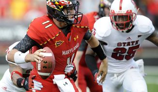 Maryland will now turn to sophomore Devin Burns or freshman Caleb Rowe at quarterback after Perry Hills (pictured) suffered a season-ending ACL tear in Saturday's loss to N.C. State. (AP Photo/Nick Wass)