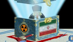 Illustration Iran's Red LIne by Alexander Hunter for The Washington Times