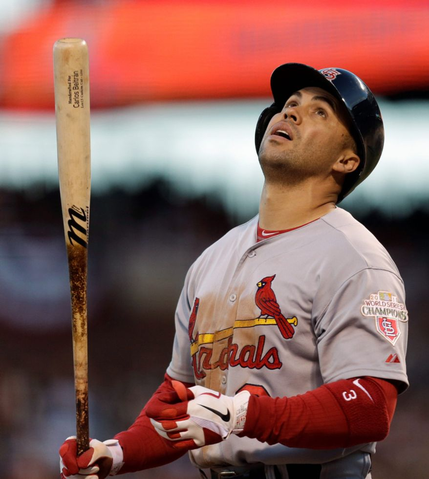 St. Louis Cardinals RF Carlos Beltran reacts after grounding out during the third inning of Game 7 of the National League Championship Series between the Cardinals and the San Francisco Giants on Oct. 22, 2012, in San Francisco. (Associated Press)
