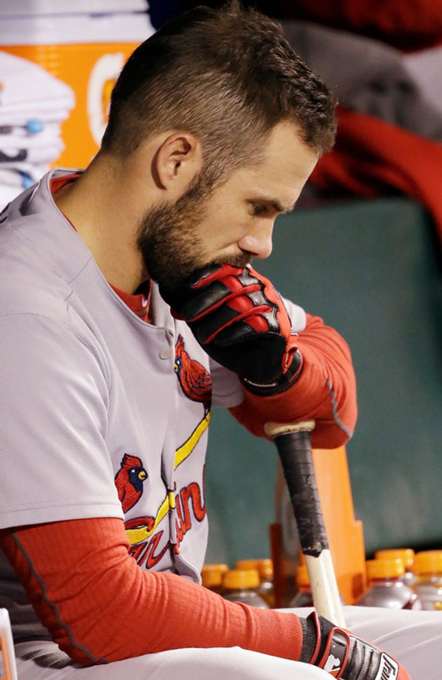 St. Louis Cardinals 2B Skip Schumaker sits on the bench during the sixth inning of Game 7 of the National League Championship Series between the Giants and the St. Louis Cardinals on Oct. 22, 2012, in San Francisco. (Associated Press)