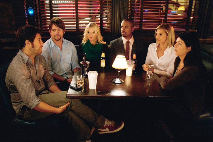 "From left: In this image released by ABC, Adam Pally, Zachary Knighton, Elisha Cuthbert, Damon Wayans Jr., Eliza Coupe and Casey Wilson are shown in a scene from the ABC comedy ""Happy Endings."" (ABC via Associated Press)"