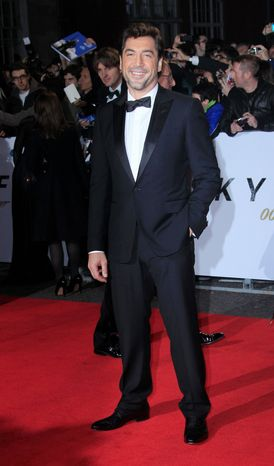 """Javier Bardem arrives at the world premiere of """"Skyfall"""" at the Royal Albert Hall on Tuesday, Oct. 23, 2012 in London. (Photo by Joel Ryan/Invision/AP)"""