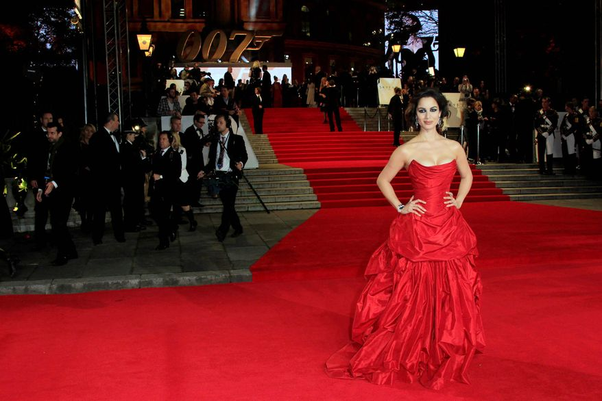 "Berenice Marlohe arrives at the world premiere of ""Skyfall"" at the Royal Albert Hall on Tuesday, Oct. 23, 2012 in London. (Photo by Joel Ryan/Invision/AP)"
