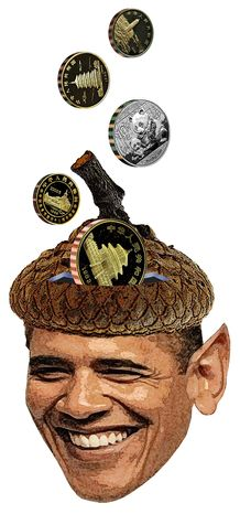 Illustration Obama's Acorn Hat by Greg Groesch for The Washington Times