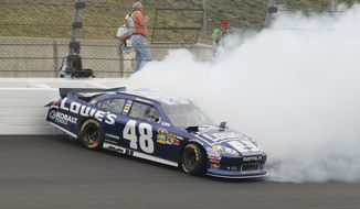 Driver Jimmie Johnson (48) during a NASCAR Sprint Cup Series auto race at Kansas Speedway in Kansas City, Kan., Sunday, Oct. 21, 2012. (AP Photo/Colin E. Braley)