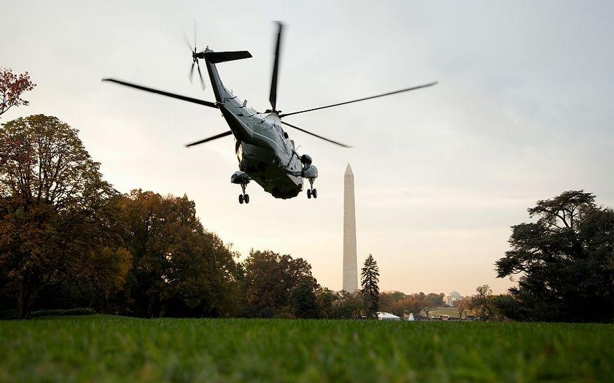 The Marine One helicopter, with President Obama aboard, lifts Oct. 23, 2012, from the South Lawn of the White House in Washington, Wednesday, en route to Andrews Air Force Base, Md., then onto campaign events in Iowa, Colorado, California and Nevada. (Associated Press)