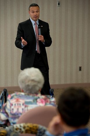 """Dan Bongino, the Republican candidate for U.S. Senate from Maryland, speaks to residents at the Ring House retirement community in Rockville, Md., on Thursday, Oct. 18, 2012. Mr. Borgino said that while he recognizes that Maryland is a tough state because it usually votes Democratic, he believes he can win because he is """"running on ideas, not party politics."""" (Barbara L. Salisbury/The Washington Times)"""
