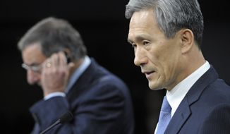 Defense Secretary Leon E. Panetta and South Korean Defense Minister Kim Kwan-jin participate in a joint news conference at the Pentagon in suburban Washington on Wednesday, Oct. 24, 2012. (Associated Press)