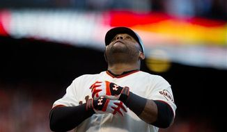 San Francisco Giants' Pablo Sandoval crosses the plate after a solo home run in the first inning against the Detroit Tigers during Game 1 of baseball's World Series on Wednesday, Oct. 24, 2012, in San Francisco. The Giants won the game, 8-3. (AP Photo/The Sacramento Bee, Jose Luis Villegas)