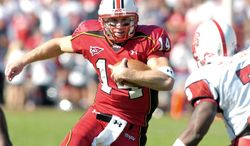 Sam Hollenbach was the last Maryland quarterback to play an entire season, accomplishing the feat in 2006. Lamar Owens (shown below) did it for Navy in 2005. Since then, both schools have seen a parade of QBs annually. (The Washington Times)