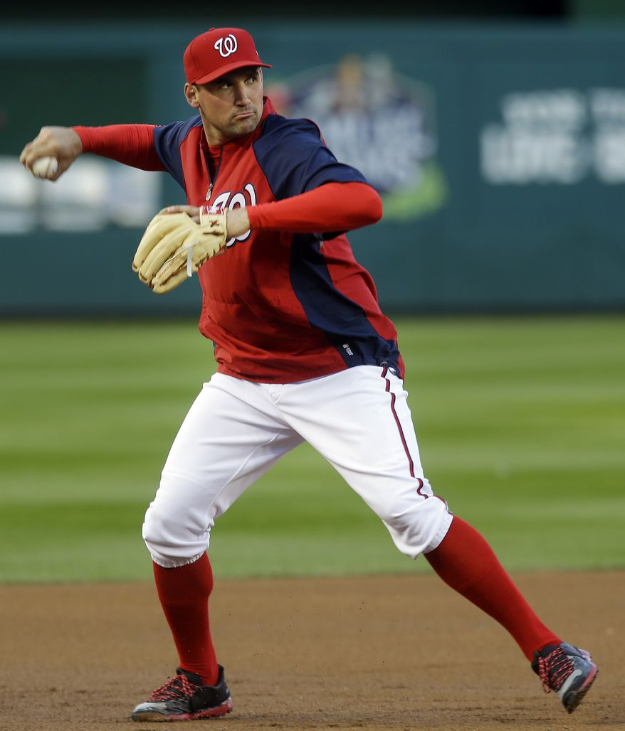 Washington Nationals' Ryan Zimmerman warms up before Game 5 of the National League division baseball series against the St. Louis Cardinals on Friday, Oct. 12, 2012, in Washington. (AP Photo/Pablo Martinez Monsivais)