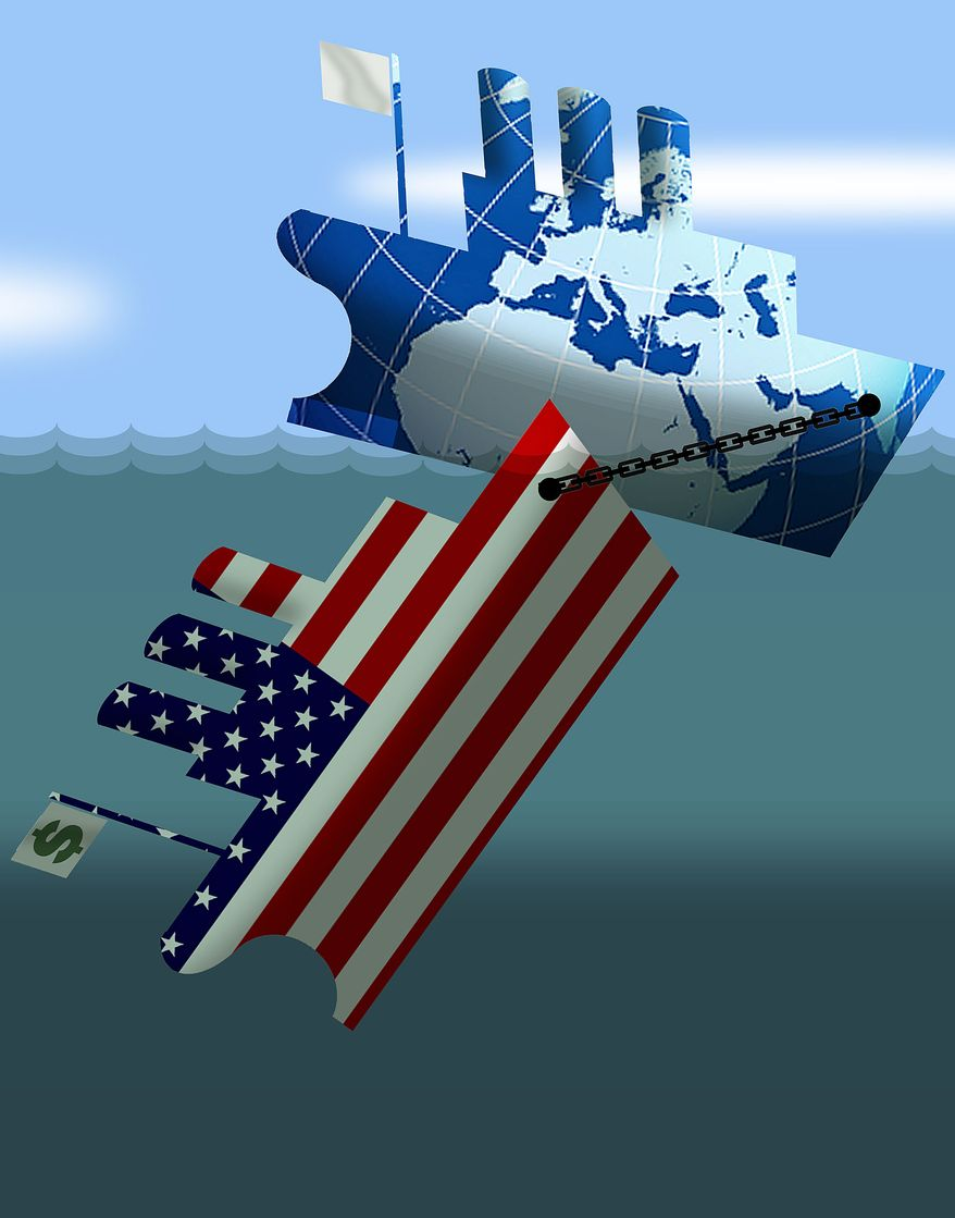Illustration U.S. Sinking World Economies by Alexander Hunter for The Washington Times