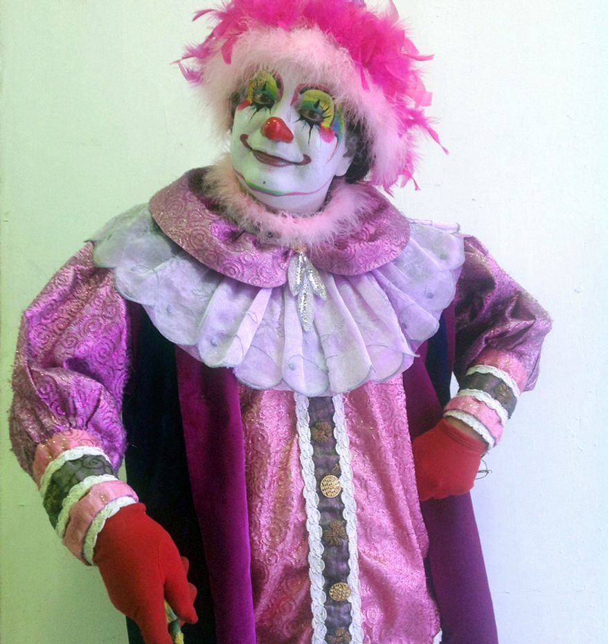 Paulynn, 49, poses for a photo during Mexico's 17th annual clown convention, La Feria de la Risa, in Mexico City.  Approximately 500 clowns gathered at two local theaters in the capital city to exchange ideas, compete for laughs and show off their comedy performances. Paulynn who is from Hildalgo has been a clown for 30 years.  (AP Photo/Anita Baca)