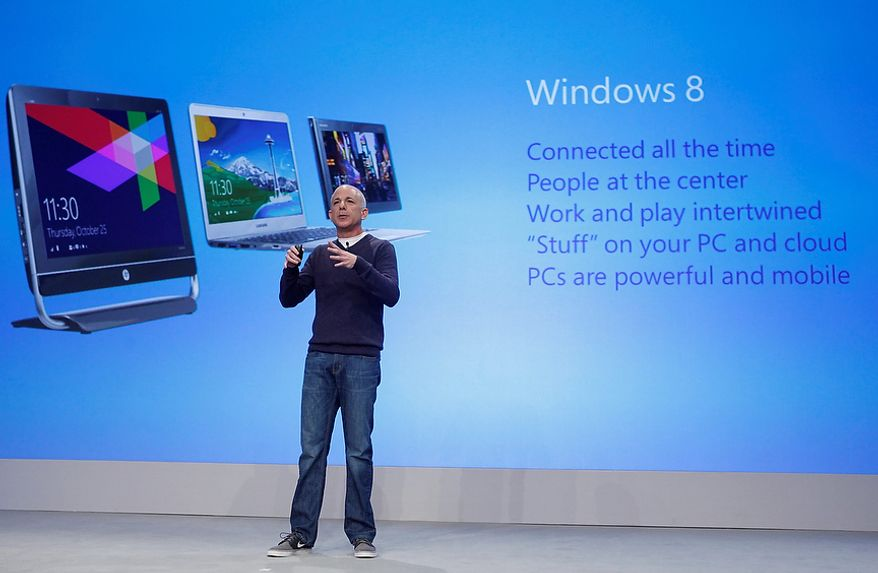 Today, Steven Sinofsky, president of Windows, announces the availability of Windows 8 at the launch event at Pier 57 on Thursday, Oct. 25, 2012 in New York City. (Jason DeCrow /AP Images for Microsoft)