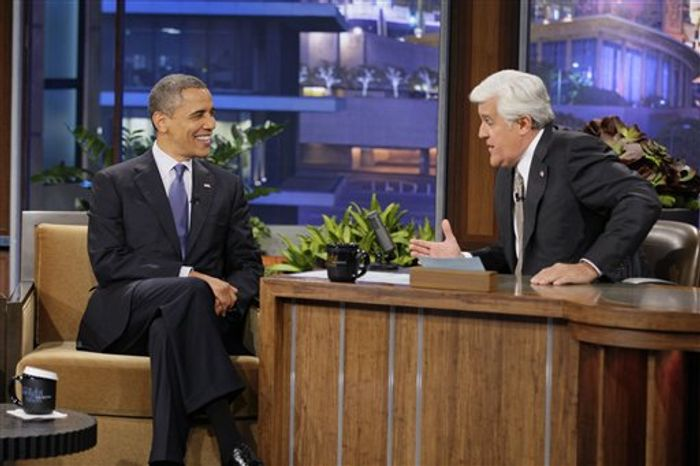 """In this photo provided by NBC, President Obama appears on """"The Tonight Show"""" with Jay Leno Wednesday, Oct. 24, 2012, in Los Angeles. (NBC via Associated Press)"""