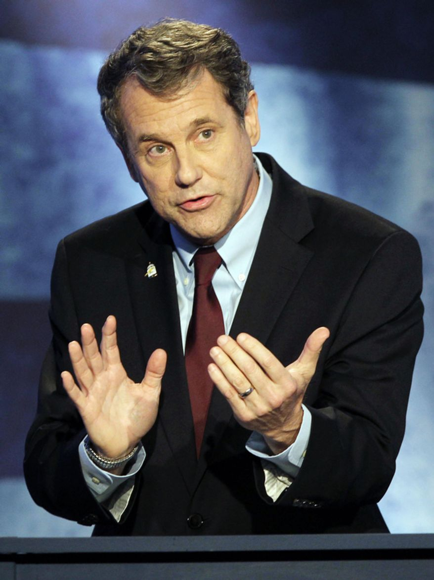 Senate Debates Metro Thursday October 25, 2012: Democratic U.S. Senator Sherrod Brown gestures as he speaks during their final debate with GOP challenger, Ohio state Treasurer Josh Mandel at WCET studios Thursday October 25, 2012 in Over-the-Rhine. (Pool/ Joseph Fuqua II/The Cincinnati Enquirer)