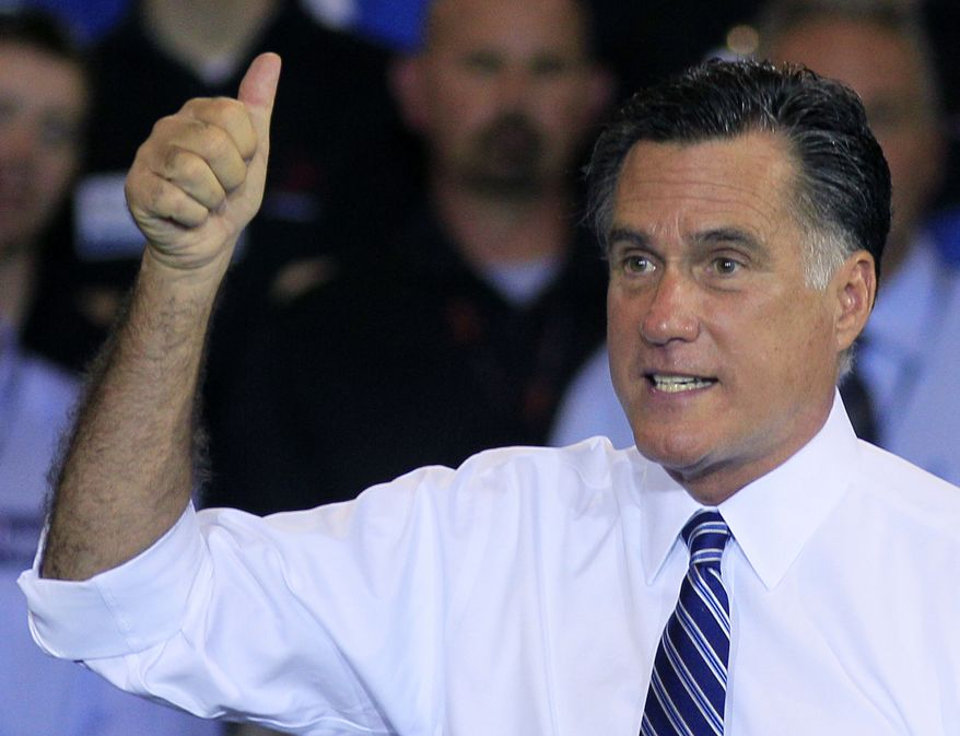 Republican presidential candidate Mitt Romney makes a point during a campaign stop at Jet Machine, a defense contractor, in Cincinnati on Thursday, Oct. 25, 2012. (AP Photo/Al Behrman)