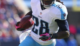 Tennessee Titans' Chris Johnson (28) runs against the Buffalo Bills during the first half of an NFL football game in Orchard Park, N.Y., Sunday, Oct. 21, 2012. (AP Photo/Bill Wippert)