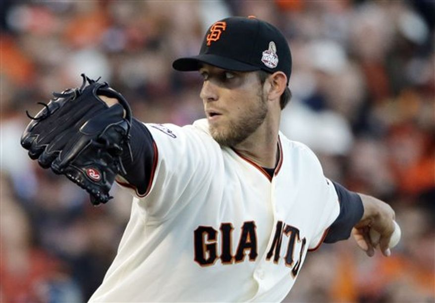 San Francisco Giants starting pitcher Madison Bumgarner throws during the first inning of Game 2 of baseball's World Series against the Detroit Tigers Thursday, Oct. 25, 2012, in San Francisco. The Giants won 2-0 to lead the series 2 games to 0. (AP Photo/David J. Phillip)