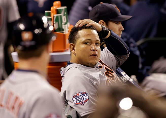 Detroit Tigers 3B Miguel Cabrera reacts on the bench during the fifth inning of Game 1 of the World Series between the Tigers and San Francisco Giants in San Francisco on Oct. 24, 2012. (Associated Press)