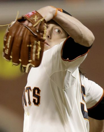 San Francisco Giants pitcher Tim Lincecum throws during the sixth inning of Game 1 of the World Series between the Giants and Detroit Tigers in San Francisco on Oct. 24, 2012. (Associated Press)