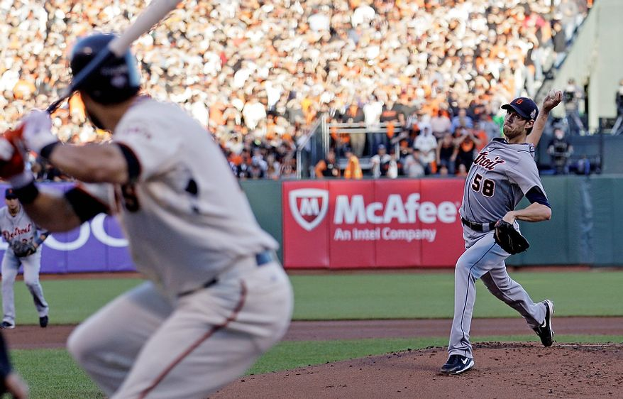 Detroit Tigers starting pitcher Doug Fister throws during the first inning of Game 2 of the World Series between the Tigers and San Francisco Giants in San Francisco on Oct. 25, 2012. (Associated Press)