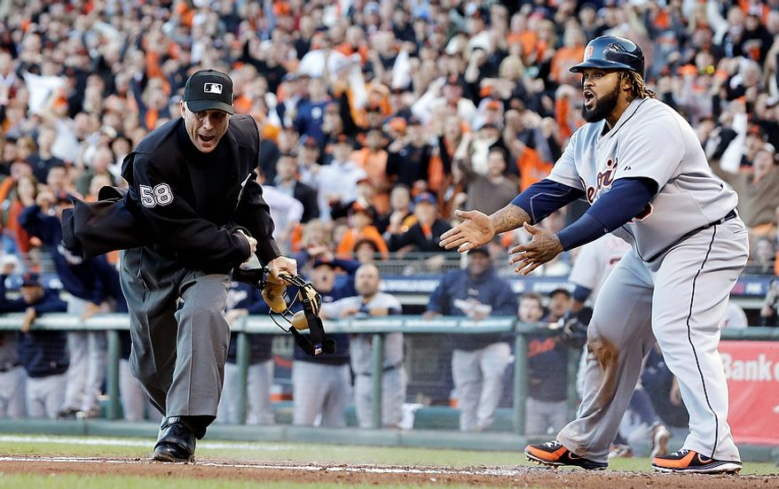 Detroit Tigers 1B Prince Fielder reacts as home plate umpire Dan Iassogna calls him out on a play at the plate during the second inning of Game 2 of the World Series between the Tigers and San Francisco Giants in San Francisco on Oct. 25, 2012. (Associated Press)