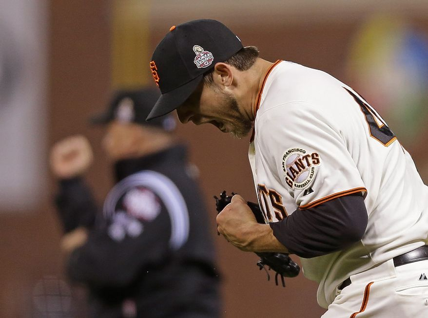 San Francisco Giants starting pitcher Madison Bumgarner reacts after the Detroit Tigers hit into a double play during the seventh inning of Game 2 of the World Series in San Francisco on Oct. 25, 2012. (Associated Press)