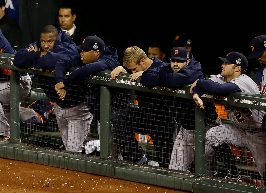 The Detroit Tigers watch during the eighth inning of Game 2 of the World Series between the Tigers and San Francisco Giants in San Francisco on Oct. 25, 2012. (Associated Press)