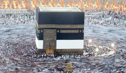 Muslim pilgrims circle the Kaaba as pray inside the Grand mosque in the holy city of Mecca, Saudi Arabia, on Oct. 23, 2012. The annual Islamic pilgrimage draws three million visitors each year, making it the largest yearly gathering of people in the world. (Associated Press)