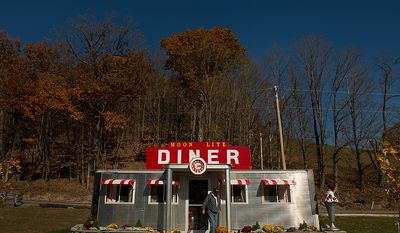 """Dennis Bowser of Alum Bank, Pa., built a small diner replica on his property after retiring, Alum Bank, Pa., Monday, October 22, 2012. """"There's a lot of coal in this area, Says Bowser, """"When you shut coal down, you get rid of a lot of jobs. It's their livelihood."""" (Andrew Harnik/The Washington Times)"""