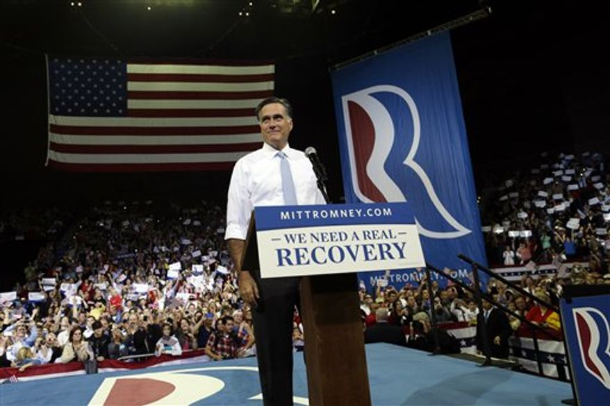Republican presidential candidate and former Massachusetts Gov. Mitt Romney campaigns at the Pensacola Civic Center in Pensacola, Fla., Saturday, Oct. 27, 2012. (AP Photo/Charles Dharapak)