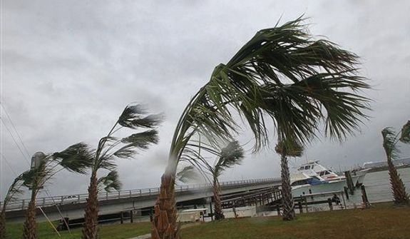 Palms along highway 24 at the Nancy Lee Fishing Center bend in the tropical storm-force winds being generated by Hurricane Sandy, Saturday, Oct. 27, 2012 in Atlantic Beach, N.C. (AP Photo/The Jacksonville Daily News, Chuck Beckley)