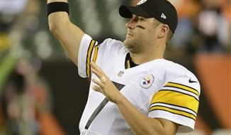 ** FILE ** Pittsburgh Steelers quarterback Ben Roethlisberger warms up prior to an NFL football game against the Cincinnati Bengals, Sunday, Oct. 21, 2012, in Cincinnati. (AP Photo/Michael Keating)