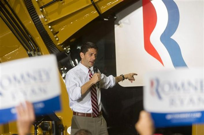 Republican vice presidential candidate Paul Ryan, R-Wis., speaks at a campaign event at the Gradall Industries plant in New Philadelphia, Ohio, Saturday, Oct. 27, 2012. (AP Photo/Phil Long)