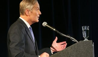 ** FILE ** Republican Rep. Todd Akin speaks as he takes on Democratic Sen. Claire McCaskill during the second debate in the Missouri Senate race Thursday, Oct. 18, 2012, in Clayton, Mo. (AP Photo/Emily Rasinski)