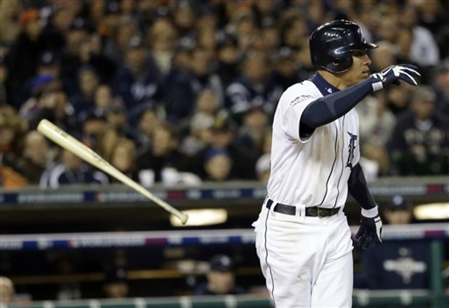 Detroit Tigers' Quintin Berry reacts after striking out during the seventh inning of Game 3 of baseball's World Series against the San Francisco Giants Saturday, Oct. 27, 2012, in Detroit. (AP Photo/David J. Phillip)