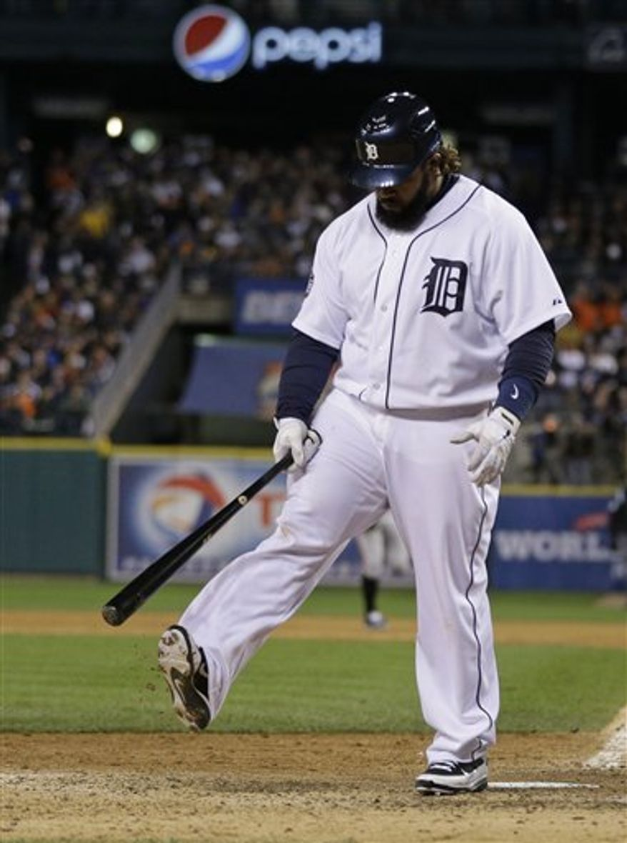 Detroit Tigers' Prince Fielder reacts after striking out during the eighth inning of Game 3 of baseball's World Series against the San Francisco Giants Saturday, Oct. 27, 2012, in Detroit. (AP Photo/Matt Slocum)