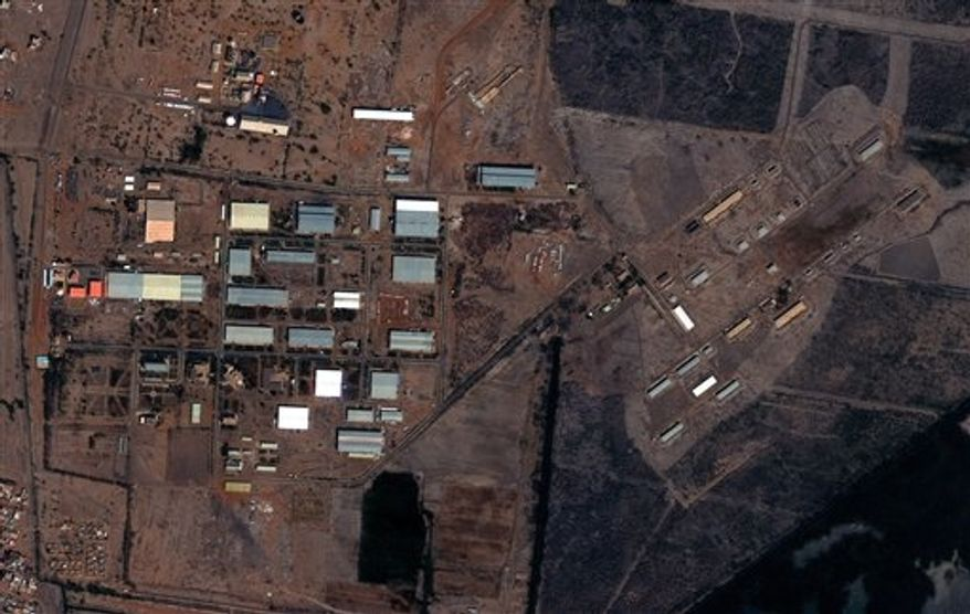 The Yarmouk military complex in Khartoum, Sudan, seen in a satellite image made on Oct. 25 2012, following the alleged attack. A U.S. monitoring group says these satellite images of the aftermath of an explosion at a Sudanese weapons factory suggest the site was hit by an airstrike. The Sudanese government has accused Israel of bombing its Yarmouk military complex in Khartoum, killing two people and leaving the factory in ruins. The images released by the Satellite Sentinel Project to The Associated Press on Saturday, Oct 27 2012, showed several 52-foot wide craters. (AP Photo/ DigitalGlobe via Satellite Sentinel Project)