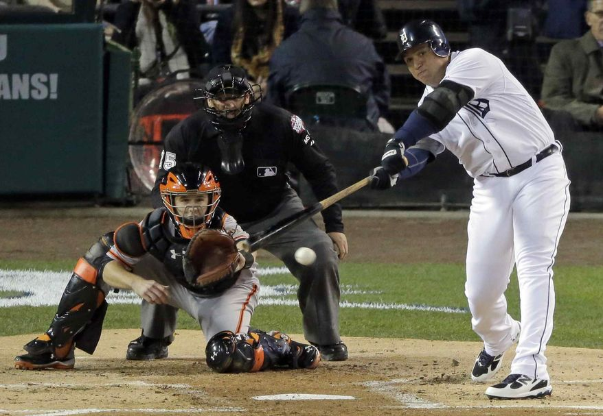 Detroit Tigers third baseman Miguel Cabrera (24) hits a single during the first inning of Game 3 of baseball's World Series against the San Francisco Giants Saturday, Oct. 27, 2012, in Detroit. (AP Photo/Charlie Riedel)