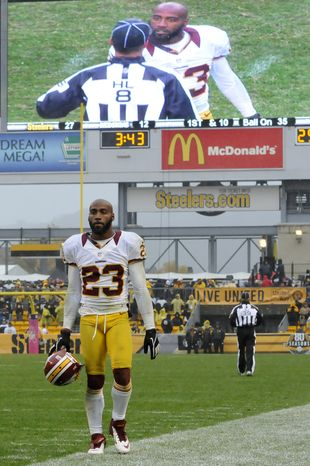 Washington Redskins cornerback DeAngelo Hall (23) walks off the field after being ejected in the fourth quarter at Heinz Field, Pittsburgh, Pa., Oct. 28, 2012. (Preston Keres/Special to The Washington Times)