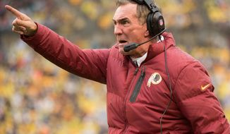 ** FILE ** Washington Redskins head coach Mike Shanahan argues with a referee on the sideline in the third quarter as the Washington Redskins take on the Pittsburgh Steelers at Heinz Field, Pittsburgh, Pa., Sunday, October 28, 2012. (Andrew Harnik/The Washington Times)