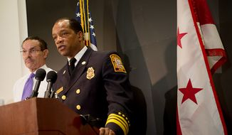Fire Chief Kenneth Ellerbe said that if winds are 40 mph, first-responder vehicles, particularly ambulances, will not be able to safely travel on the roads. Currently there are hurricane-force winds, upwards of 75 mph, where the storm has hit in the Chesapeake region. (Barbara L. Salisbury/The Washington Times)