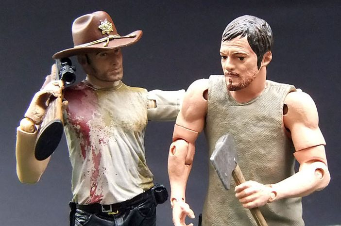 McFarlane Toys' Deputy Rick Grimes has a chat with his pal Daryl Dixon, both stars of The Walking Dead. (Photograph by Joseph Szadkowski / The Washington Times)