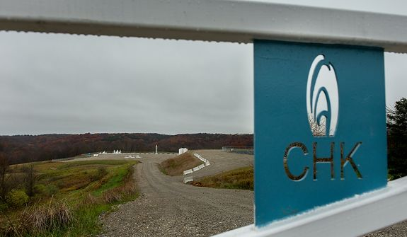 A natural gas hydraulic fracturing site run by Chesapeake Energy sits in operation a few miles outside of Steubenville, Ohio, Saturday, October 27, 2012. Once a productive steel town, Steubenville, Ohio's population has contracted faster than anywhere else in the country between 1980 and 2000 as their steel plants shut down. The area has seen a drop in unemployment in recent years due in part to the prospects of natural gas but the city still has a long way to go with unemployment figures higher then the the rest of the state and the country. (Andrew Harnik/The Washington Times)